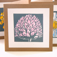 Clover hand printed linocut card