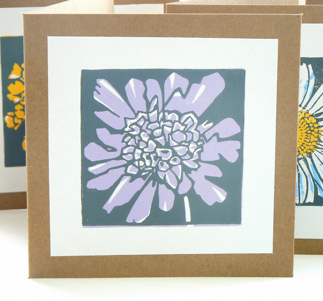 Scabious hand printed linocut card