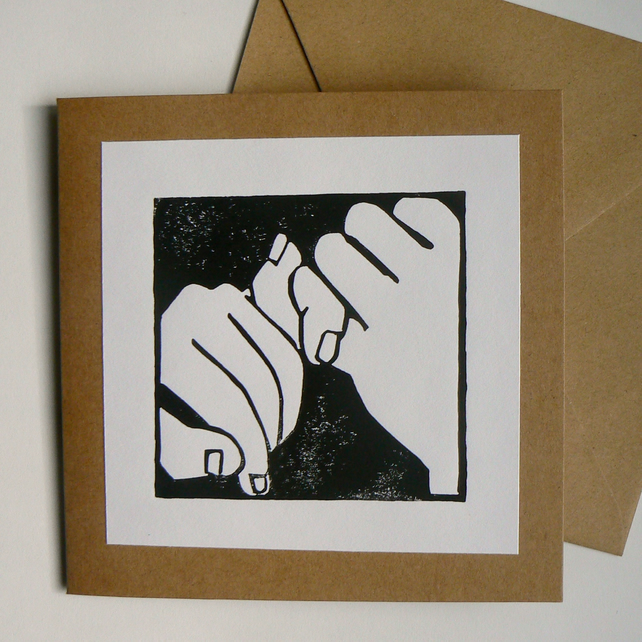 Pinkie promise, hand printed linocut card