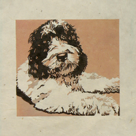 Marvin Clumberdoodle linocut print