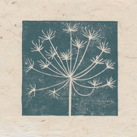 Cow parsley seed head mini linocut print
