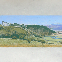 Pennard Castle, Three Cliffs Bay, Ltd Edition linocut print