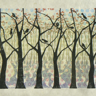 Oak Wood linocut and monoprint