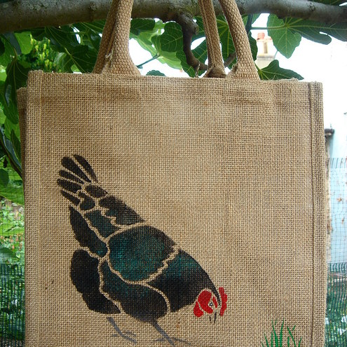 Chicken brown black or white hand painted jute bag