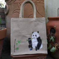 Panda bear hand painted jute bag