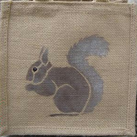Squirrel jute lunch toy gift bag hand painted