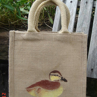 duckling jute lunch toy gift bag hand painted