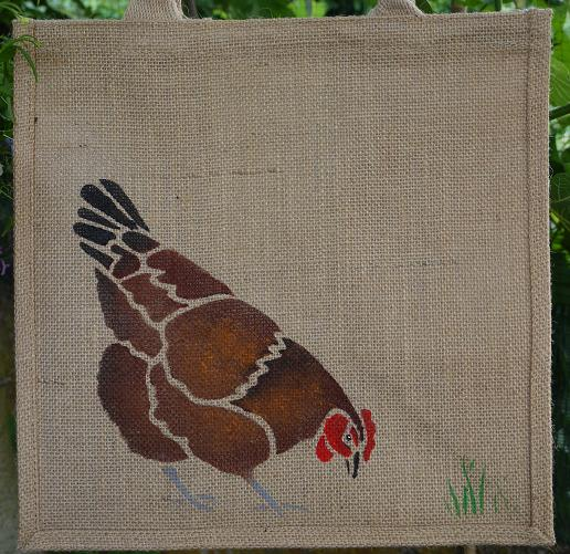 Chicken Hen Brown Chuck jute eco bag hand painted eggs