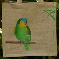 Blue Fronted Amazon Parrot bird jute eco bag hand painted