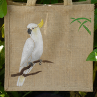 Sulphur Crested Cockatoo Parrot bird jute eco bag hand painted