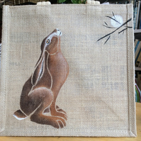 Moon Gazing Hare pagan mystical hand painted Jute bag