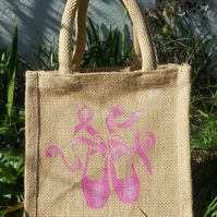 Ballet Shoes pink or white little jute bag hand painted