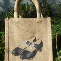 Tap Shoes red or black little jute bag hand painted