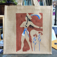 Prince of the Lillies ancient Minoan fresco hand painted Jute bag