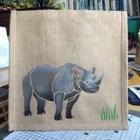 Rhino jute eco bag hand painted DONATION to Saving the Survivors