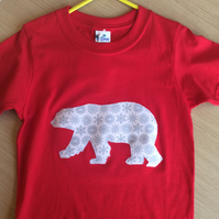 Polar Bear appliquéd red T-shirt for child aged 3 -4 years