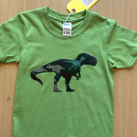 T-Rex dinosaur appliquéd green T-shirt for child aged 5-6 years