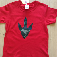 T-Rex Foot Print appliquéd RED T-shirt for child aged 3 - 4 years