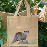 Otter jute eco bag hand painted