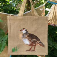 Partridge Game Bird hand painted Jute bag