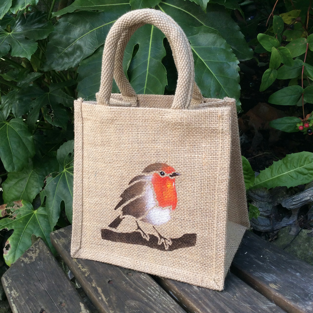Robin little jute bag hand painted