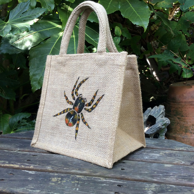 Spider lunch toy gift bag hand painted