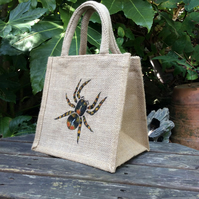 Spider Tarantula little jute bag hand painted
