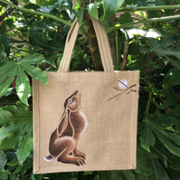 Moon Gazing Hare hand painted Jute bag