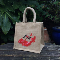 Tap Shoes Red hand painted little jute bag