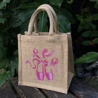 Ballet Shoes Pink hand painted little jute bag