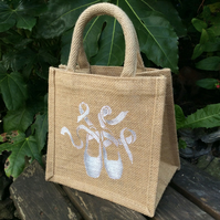 Ballet Shoes White hand painted little jute bag
