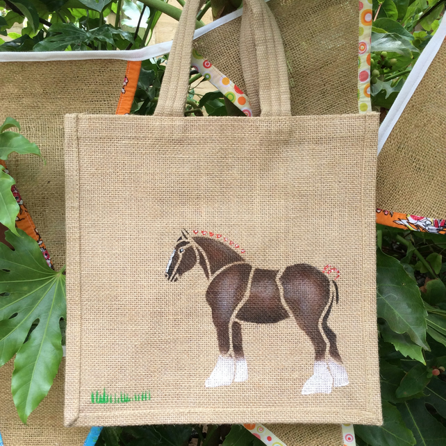 Shire or Heavy Horse Bay brown hand painted jute bag
