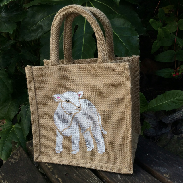 Lamb hand painted little jute bag