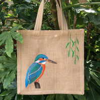 Kingfisher hand painted jute eco bag