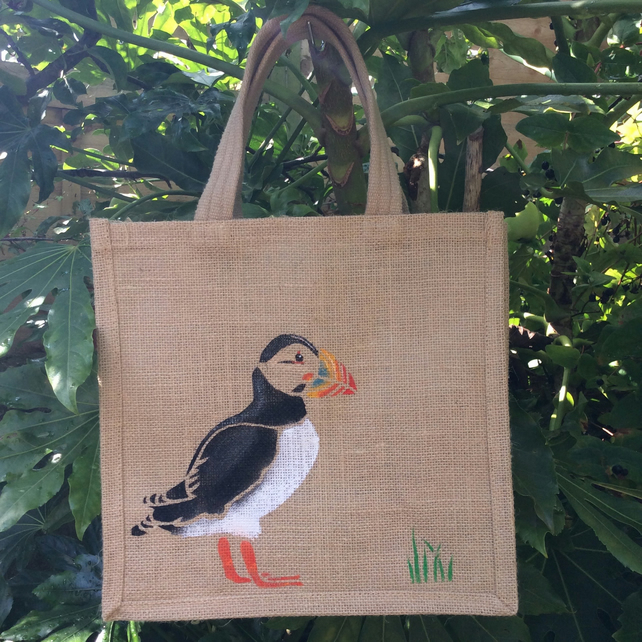 Puffin hand painted jute eco bag