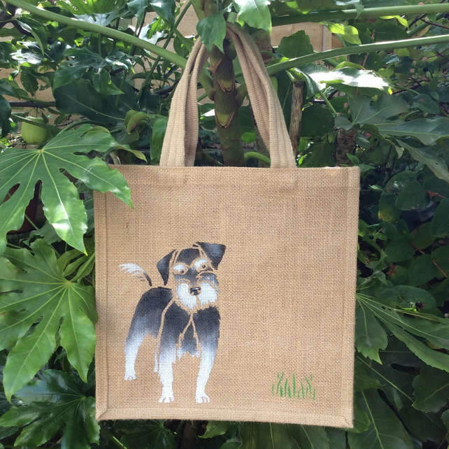 Schnauzer dog jute eco bag hand painted