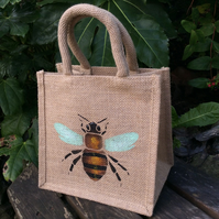 Bee little jute bag hand painted