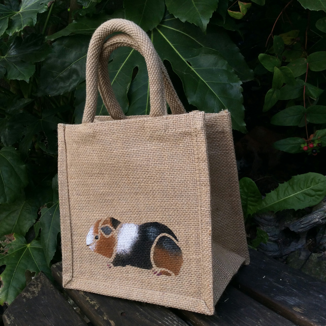 Guinea pig tri-colour little jute bag hand painted