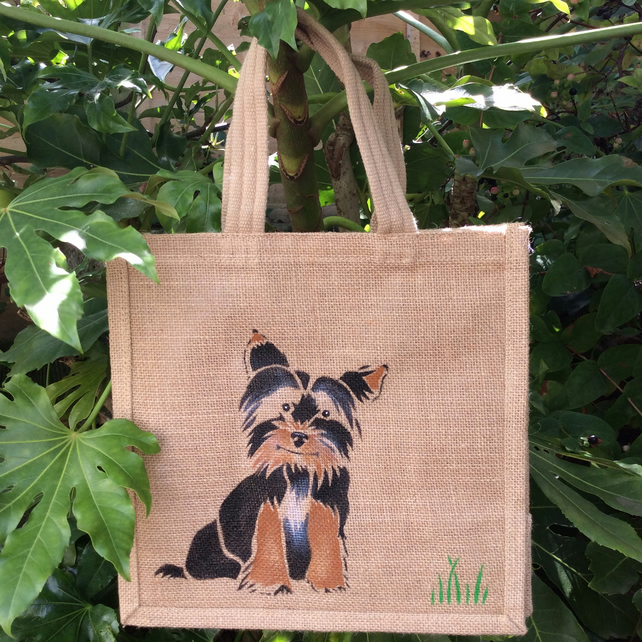 Yorkshire Terrier Yorkie dog jute bag hand painted