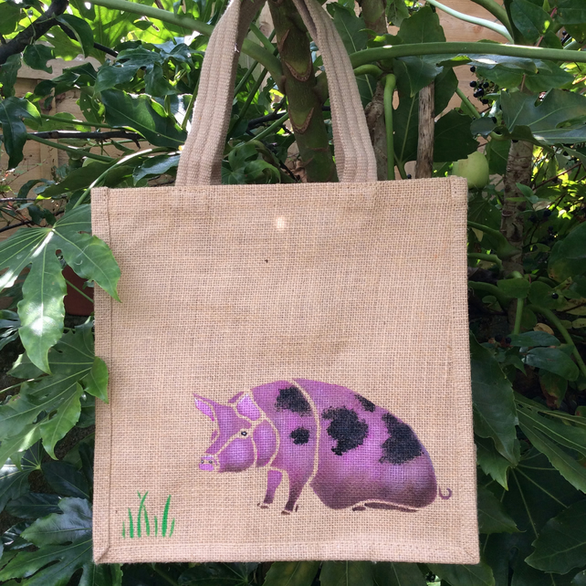 Gloucester Old Spot Pig jute eco bag hand painted