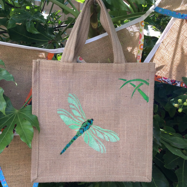 Dragonfly jute eco bag hand painted