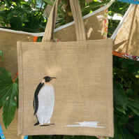 Penguin emperor bird hand painted jute bag