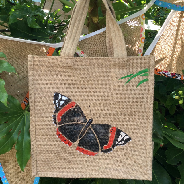 Butterfly Red Admiral jute eco bag hand painted