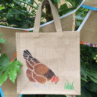 Chicken Hen Brown hand painted jute bag