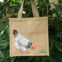 Chicken Hen Light White Sussex white jute bag hand painted