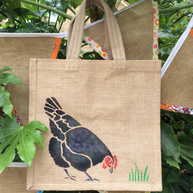 Chicken Hen Black hand painted jute bag