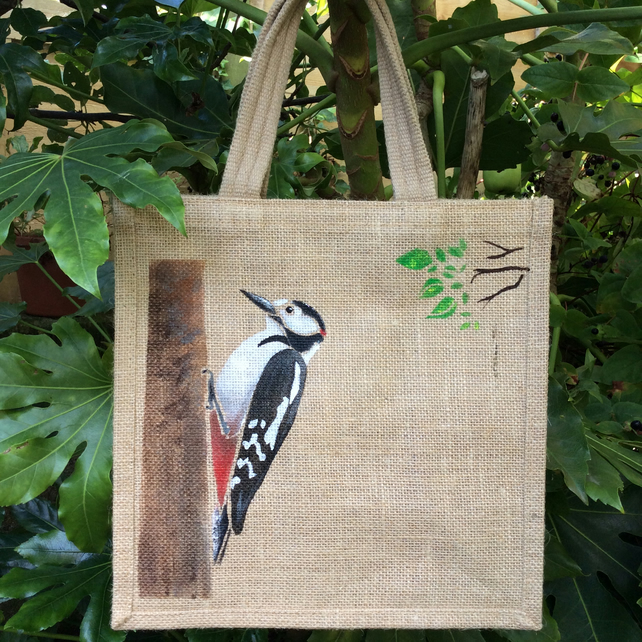 Woodpecker hand painted jute bag