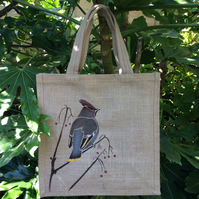 Waxwing hand painted jute bag