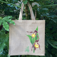Orchid Lady's Slipper hand painted jute bag