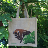 Bison European hand painted jute bag